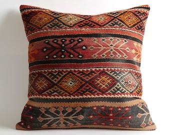 turkish kilim pillow, 20x20 kilim pillow cover, vintage pillow, decorative pillow, pillow, bohemian pillow, kilim, kilim cushion cover
