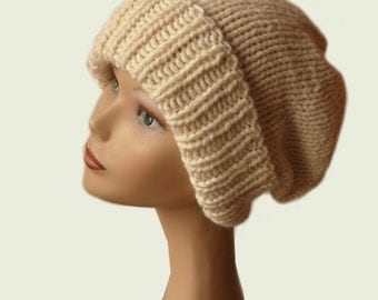 Slouch Beanie Hat, Chunky Hat, Oversize Knit Hat, Womens Beanie, Baby Alpaca, Womens Winter Hat, Cuffed Beanie, Off-White Hat