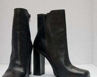90's Leather Black Boot Heels