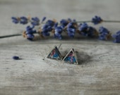 Silver Triangle Charm Surgical Stainless Stud Earrings Filled with Resin, Blue and Pink Queen Anne's Lace Flowers