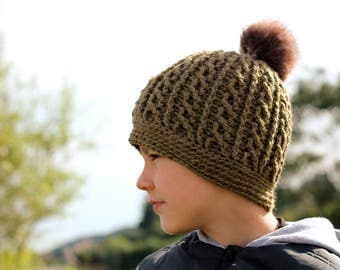 """Crochet Cable Beanie Pattern, Crochet Pattern Cable Hat """"Wreck Beanie"""" Boys crochet pattern, Knit look cables Hat pattern PATTERN ONLY"""