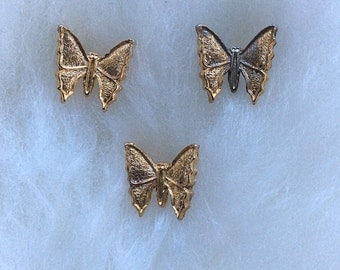 Trio of Vintage Butterfly Pins in Gold