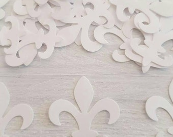 50 White Fleur de Lis Confetti-1 Inch-Scrapbooking-Gift Wrapping-Embellishments-Wedding-Party-Cards-Die cuts-Punches