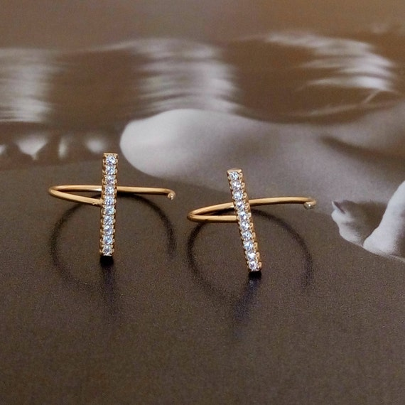 Bar earrings, silver 925 gold plated bar earrings with zircons, Silver 925 CZ bar earring, gift, 925 Silver earring, Delicate hoop earring