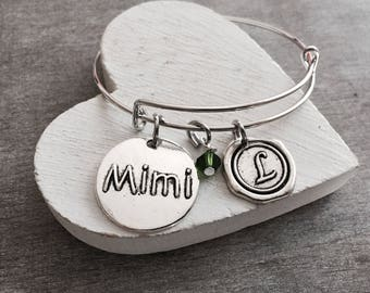 MIMI BANGLE, Silver Bracelet, Charm Bracelet, Mimi Gift, Mimi Jewelry, Mimi Bracelet, Mimi Charm,Adjustable, Expandable, Bangle Bracelet