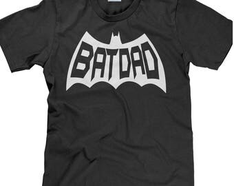 Men's Fit Father's Day T Shirt - Batdad Comic Book Fan Tee Shirt - Custom Fathers Day Gift - Unisex Cotton T Shirt - Item 3630 - White Ink