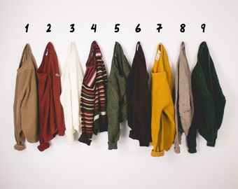 YOU PICK - Vintage Fall Solid Pattern Striped Sweaters Oversized Grunge Cozy Cardigans Pullovers Small Medium Minimalist Basic Sweater