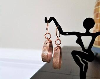 Etched Copper Hoop Earrings