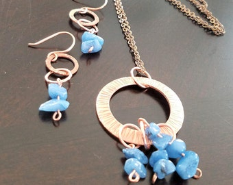 Copper Necklace, Copper Earrings, Copper Hoop Necklace and Earrings set, with Blue 'rock' beads
