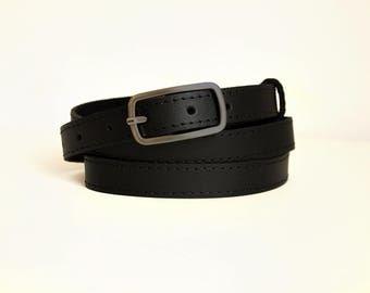 Leather belt for women, Black leather belt, Narrow belt, ALL SIZES