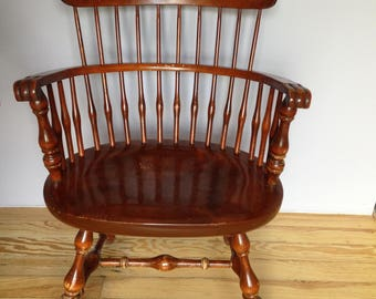 Nichols and Stone Solid Cherry Captain's chair Governor Bradford style comb back Windsor Solid and super comfortable RARE arm chair USA made