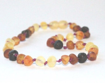 RAW Unpolished Baltic Amber Necklace, Bracelets & Anklets - rainbow connection collection - TEAL/PLUM cord