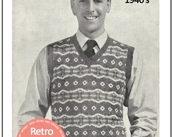 1940s Men's Fair Isle Pullover Knitting Pattern - Instant Download - PDF Knitting Pattern