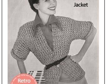 1950's Summer Jacket  Vintage Crochet Pattern - PDF Instant Download - Rockabilly - Pin up
