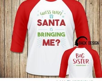 Big Sister Christmas Shirt Announcement, Christmas Pregnancy Announcement Shirt, Big Sister Shirt Christmas, Sibling Announcement