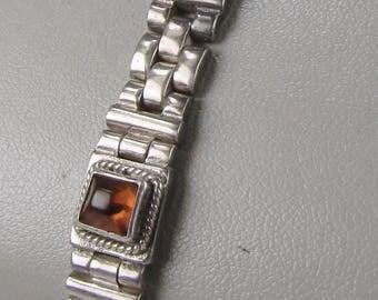 """SALE!!  Vintage Lori Bonn Signed Sterling and Amber Link Bracelet ~ 7"""" Long"""