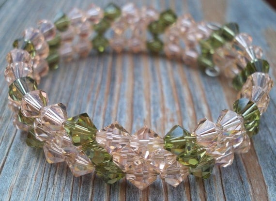 Crystal Bracelet, Peach Memory Wire Bracelet, Olive Green Formal Jewelry, Thick Peach Bracelet