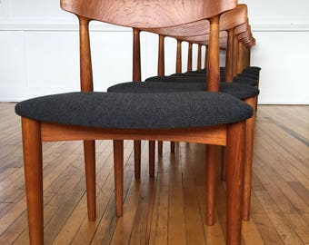 Mid Century Danish Teak Set of Eight (8) Dining Chairs Model 532 by Knud Faerch
