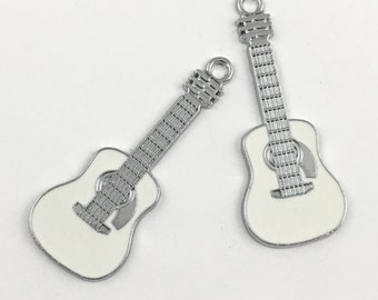 2 guitar charms white enamel and silver tone, 19 mm x 48mm # CH 309