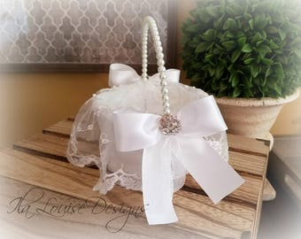 "White Lace Flower Girl Basket, 6"" Lace Flower Girl Basket, White Flower Girl Basket, Satin Flower Girl Basket"