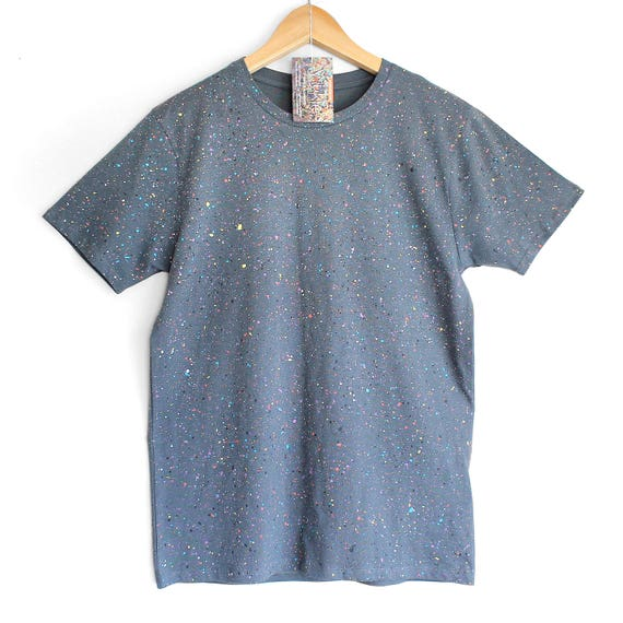 GREY SPECKLE TEE. 100% Organic Cotton. Hand dyed tee. Unique t shirts. Mens Unisex t shirt. Colour splash on grey.
