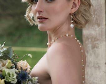 Crystal and pearl bridal earrings, long pearl wedding earrings, pearl statement earrings, pearl and crystal earrings - Alicia