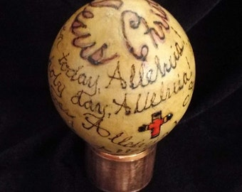 Alleluia - Egg Gourd, Inspirational, Angel, decor, small gourd, wood burned pyrography, alcohol ink, pastor's gift, artisan designed