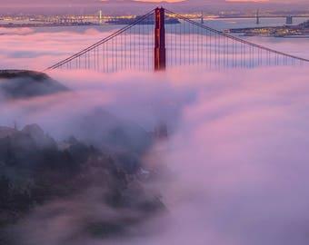 San Francisco Photograph of the Golden Gate Bridge with Fog at Sunrise - California Art - San Francisco Art - Fog Golden Gate Bridge Print