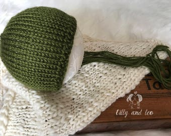 Ready to Ship Newborn Olive Green Baby Bonnet/Baby Hat/Baby Photo Prop/Knit Newborn Bonnet Hat/Free Domestic Shipping