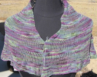 Shawlette/Scarf, Women's Hand Knit, Merino,, Beaded,  Purples, Greens, OOAK