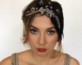 Parisian Headpiece, 1920s French Headpiece, fascinator !920s Belle Epoque Headpiece, 1920s Paris Headband, Glamorous Beaded Feather Headband