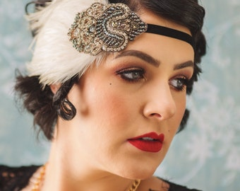 RHINESTONE 1920s  headband, Great Gatsby headpiece Ivory feather flapper fascinator pewter  topaz, rhinestone, 1920s dress, topaz, beige,