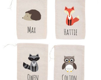Woodland Animals {set of 10} Personalized Party Favor Bags