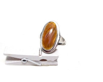 Ring silver agate Gr. 54, antique agate ring silver, US size 6.8 UK size N