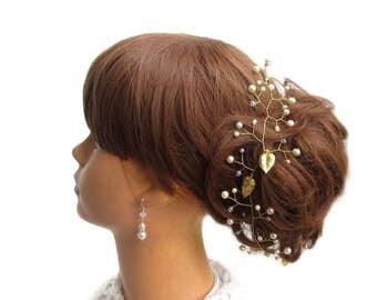 Bridal hair jewelry hair vine, long hair vines, wedding pearls, Bridal hair vine tiara Cream white pearls wedding jewelry needle Tiara