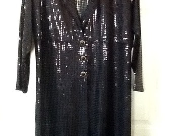 Vintage Black Sequin Midi Duster Coat / Midi Coat / SZ L TO XL / By The Icing / Abstract / High Fashion / Retro / Evening Wear / Hipster
