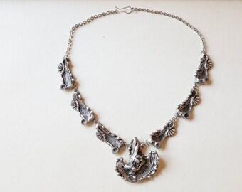 Modernist pewter collier necklace, Rune Ottosson, Sweden, 1970s (F855)