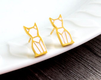 Cats ear plugs - gold/white