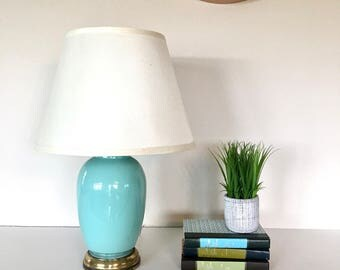 Vintage Lamp - Turquoise Blue Glass - Large Table Lamp