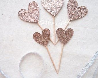 Rose Gold Glitter Heart Cupcake Cake Toppers - Set of 12