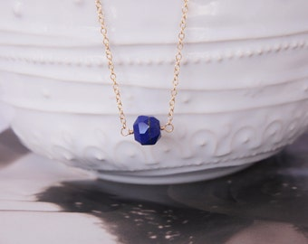 Dainty 14k Gold Filled V Necklace / Faceted Lapis Lazuli Gem / Gold Fill / GF / Geometric