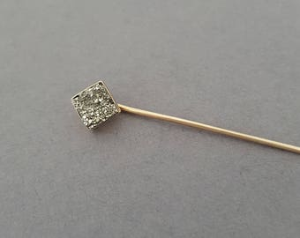 CUSTOMIZE ME - Antique Victorian 10K Rosey Gold, Pyrite / Druzy / Fools Gold / Quartz Geo Stickpin - Choose Your Customization