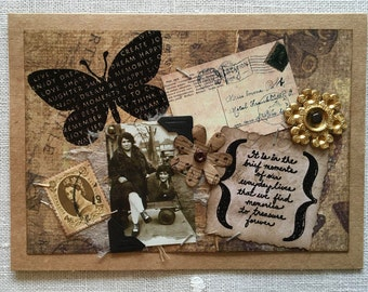 Vintage Collage Card ~ Vintage Photograph & Ephemera ~ Friendship ~ Memories ~ Girlfriends ~ Framable Art ~ One-of-A-Kind Card ~ Handcrafted
