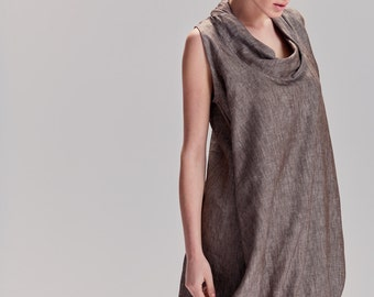 Brown Melange Loose Dress / Linen Brown Dress With Hidden Side Pockets / Extravagant Dress / Casually Linen Dress By AryaSense / DRNLN17BRM
