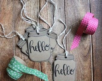 Mason Jar Gift Tags | Hello Gift Tags | Any Occasion Gift Tag