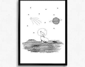 Space Dog Print | A4