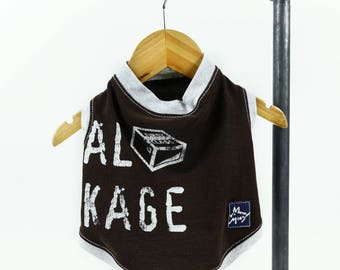 Brown Extra Small Dog T-shirt Upcycled Sleeveless Heather Gray Trim Distressed Letters Girl or Boy Dog Ready to Ship