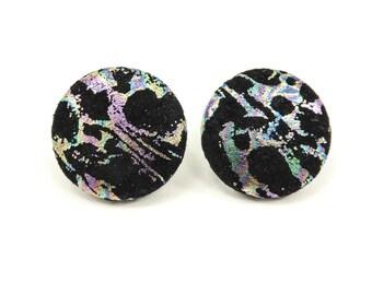 Vintage Black Suede Earrings, Iridescent Splash, Posts