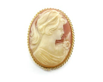 Vintage Cameo Brooch, Faux Shell, Lucite, Gold Tone