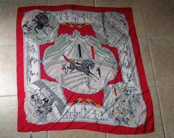 Vintage Banana Republic silk scarf Circus novelty elephants horses acrobats